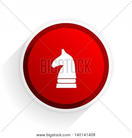 chess horse flat icon with shadow on white background, red modern design web element