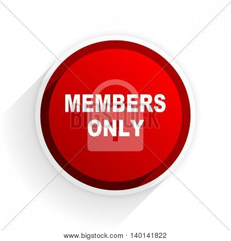 members only flat icon with shadow on white background, red modern design web element