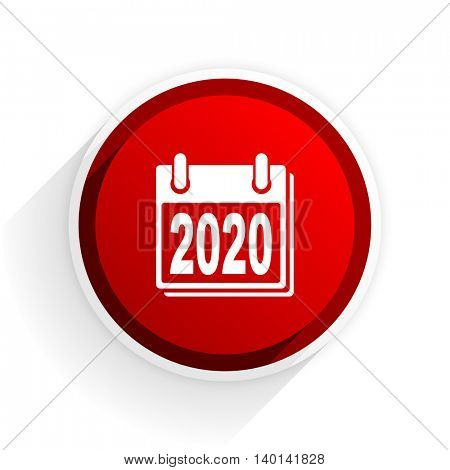 new year 2020 flat icon with shadow on white background, red modern design web element