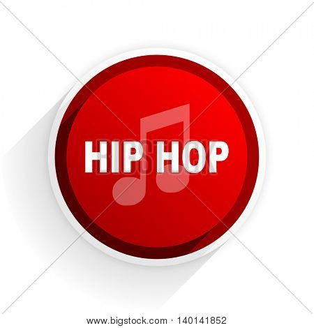 hip hop flat icon with shadow on white background, red modern design web element