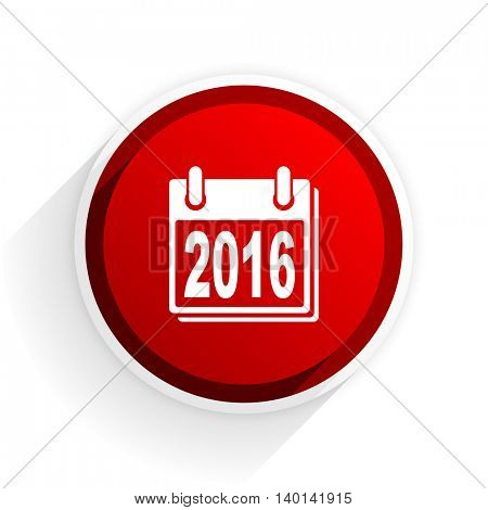 new year 2016 flat icon with shadow on white background, red modern design web element