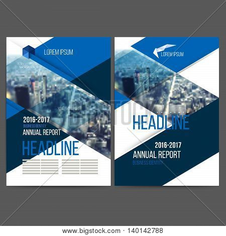 Vector template design annual report 2017, layout with colorful cityscape, space for logo and text. Vector mesh technology with  blurred concept. Isolate on white.