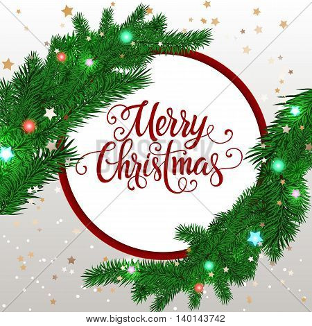 Merry Christmas lettering. Christmas greeting card with two fir tree branches and lettering in circle. Handwritten text, calligraphy. For greeting cards, posters, leaflets and brochure.