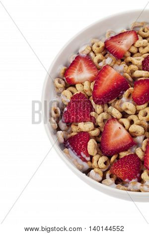 cropped image of corn flakes rings isolated on white background