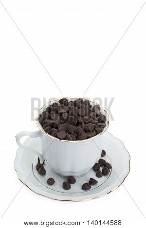 cup of chocolate chips isolated on white background