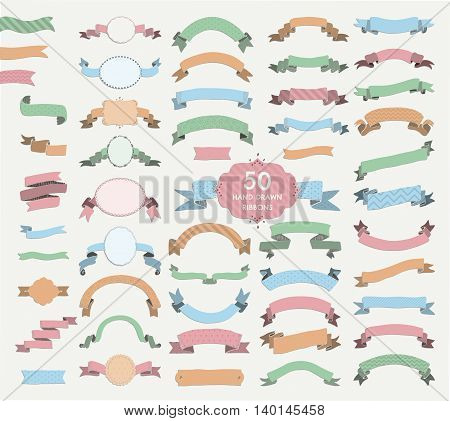 Big Set of 50 Hand Drawn Colorful Sketched Rustic Decorative Banners and Ribbons with Patterns, Frames with Geometric Ribbons with Shadows. Vintage Vector Illustration.
