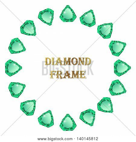 Emelald round frame. Vector jewelry border and place for your text.