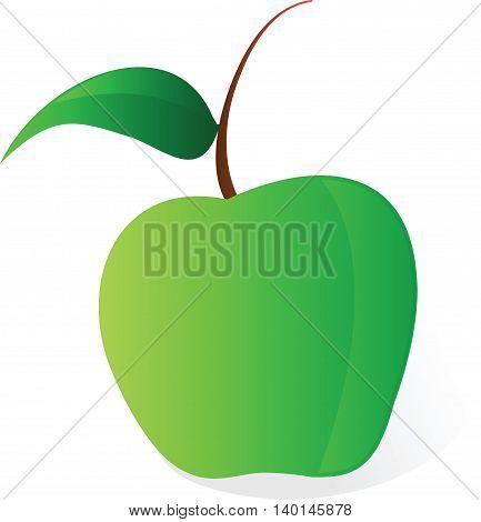 illustration cartoon green apple vector file on white background