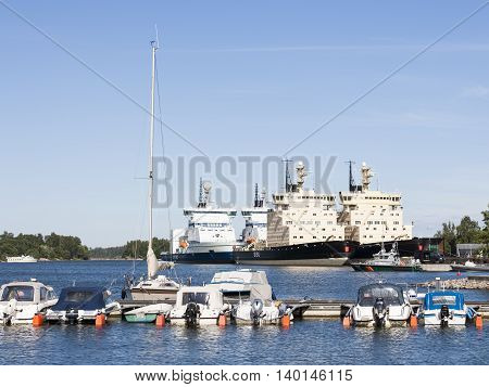 HELSINKI, FINLAND - JULY 13: Boats and icebreakers at summertime in Helsinki at July 13, 2016