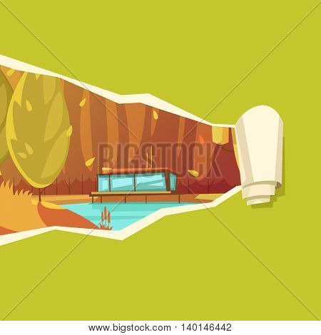 Nature autumn cartoon style drawing on unrolling paper with fall season trees near pond abstract vector illustration