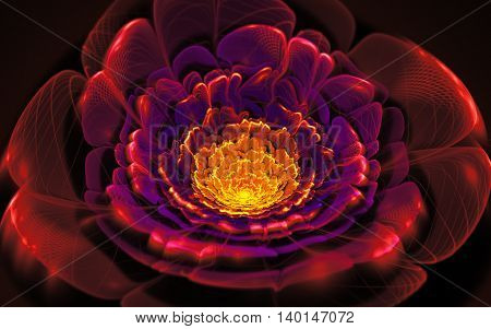 fractal illustration of bright background with floral ornament