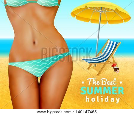 Slim sexy dark skin woman wearing swimsuit on sand beach with umbrella and lounge flat vector illustration