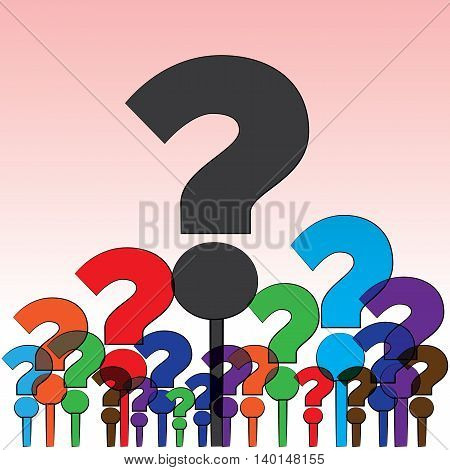 Group of colorful questions aroused to a human mind.