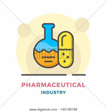 Pharmaceutical industry concept isolated on white. Vector illustration