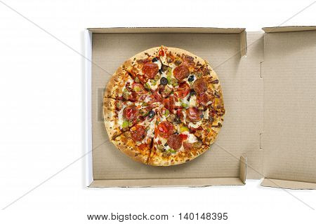 top view of pizza in the box