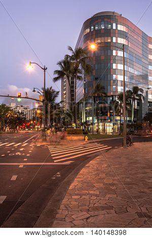 Waikiki,Oahu,Hawaii,USA - May 27, 2014 : Houses along Beachwalk in downtown Waikiki