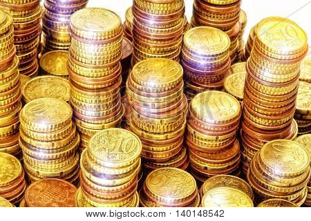 golden euro coin cents piles