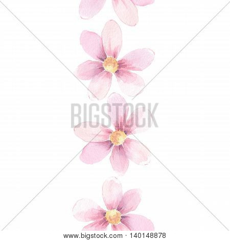Delicate floral border. Seamless pattern 1. Watercolor element for design