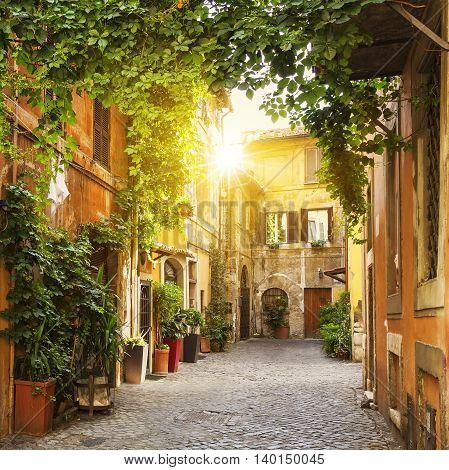 View of Old street in Trastevere in Rome Italy