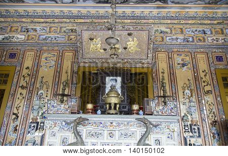 Hue, Vietnam - Jun 17, 2016: Indoor view of last King Khai Dinh tomb, one of the most popular sightseeing and must visit destination in Hue ancient capital.