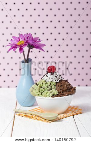 a bowl with mint and chocolate ice cream