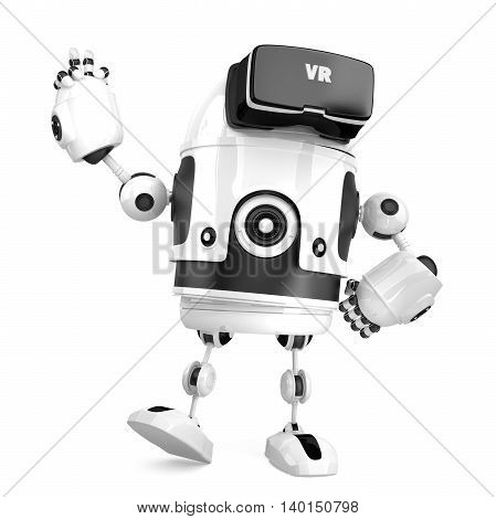 3D robot with VR glasses. 3D illustration. Isolated. Contains clipping path.