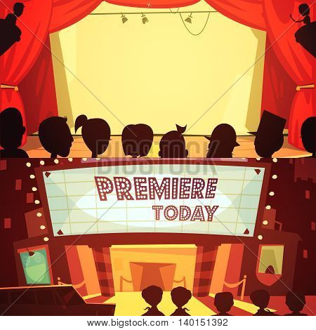Theatre retro cartoon banner set with spectators silhouettes isolated vector illustration