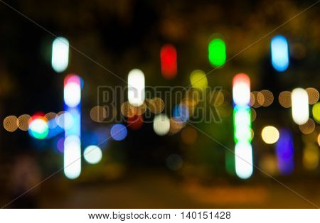 Blurred bokeh festive lights abstract background in thailand