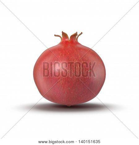 Whole pomegranate isolated on white background 3D Illustration