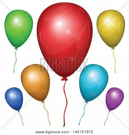 Set of shiny vector balloons with strings: red green blue purple orange yellow. Isolated on white background.