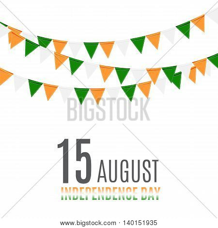 Indian Independence Day Background with Flags. Vector Illustration