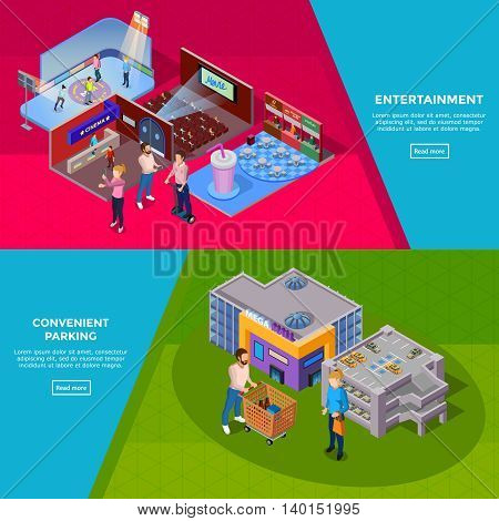Shopping mall building with parking customers and such entertainment as cinema ice rink and cafe banners isolated isometric vector illustration