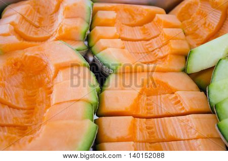 Cucumis Melo Or Melon Series In Steel Tray (other Names Are Cantelope, Cantaloup, Honeydew, Crenshaw