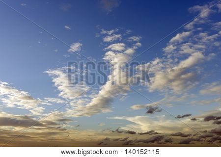 Nice cloud shape on clear blue sky with blank space