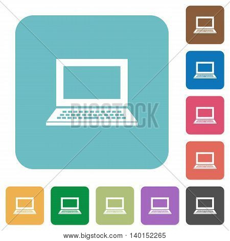 Flat laptop icons on rounded square color backgrounds.