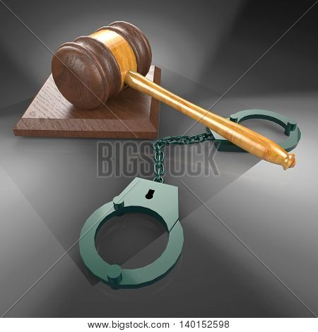 handcuffs and gavel 3d illustration