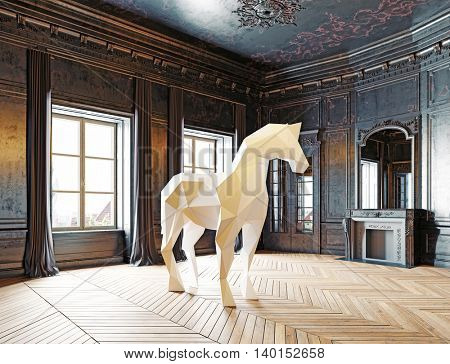 low-poly style horse in the luxury interior. 3D rendering concept