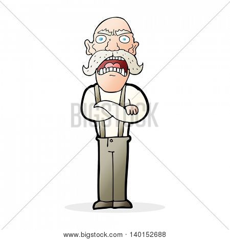 cartoon shocked old man