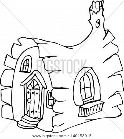 coloring pages fairy house. pattern in doodle style. Sketch for postcard or print or coloring adult book.Boho zentangle style.