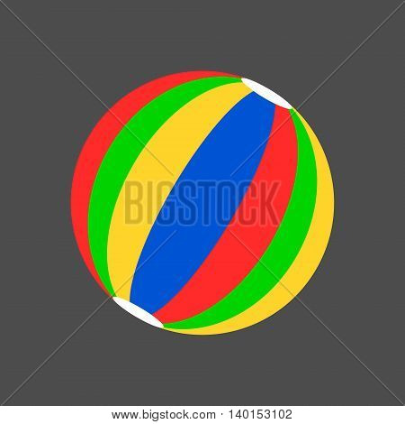 Simple striped beach ball icon. Isolated vector illustration.