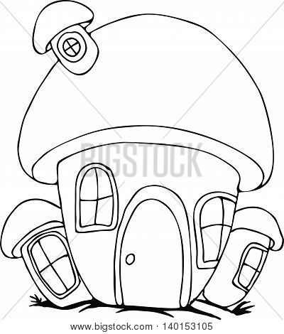 coloring pages fairy mushroom house. pattern in doodle style. Sketch for postcard or print or coloring adult book.Boho zentangle style.