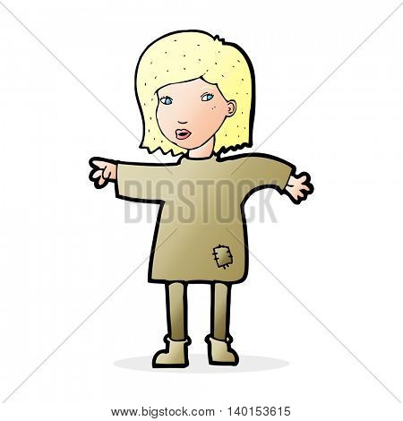 cartoon woman in patched clothing