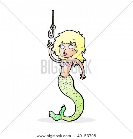 cartoon mermaid and fish hook