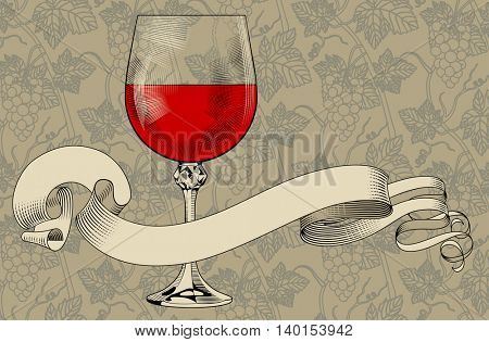 Vintage menu template with a wine glass, ribbon and grapes background. Engraving stylized drawing. Contains the Clipping Path
