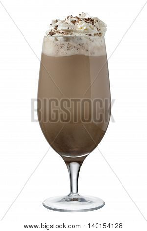 a glass of chocolate shake with whipped cream