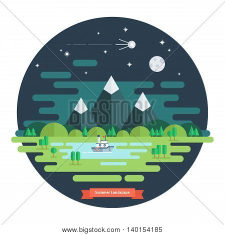 Summer landscape. Nature landscape with moon, stars, mountains and clouds. Summer night. Flat design vector illustration.