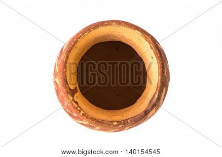 Top view of clay pot isolated on white background