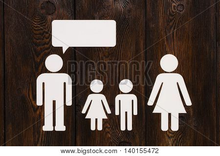 Paper Family, Father Is Talking. Abstract Conceptual Image