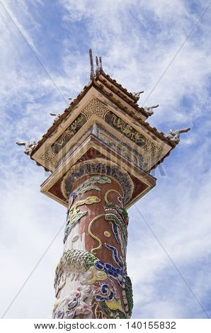 Oriental traditional details on pagoda temple in Hue, Vietnam