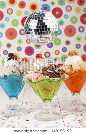 assorted ice cream flavors and disco ball